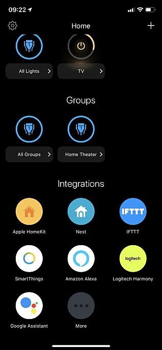 HJEMSKJERMEN: Her kan du legge til flere LIFX-produkter og styre dem som du vil. Du kan også integrere appen med andre apper du bruker i hjemmet. Foto: Øystein B. Fossum