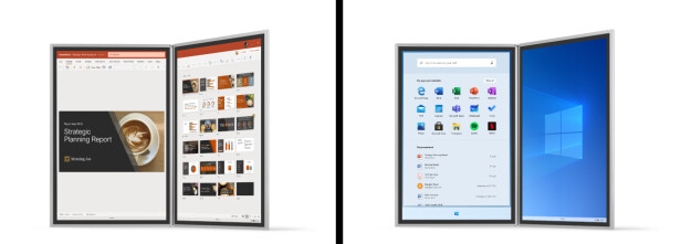 Eksempler på brukergrensesnittet i Windows 10X. Foto: Microsoft