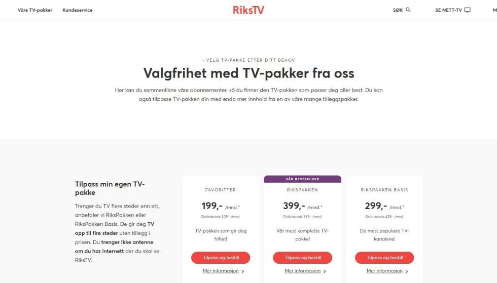 RIKSTV: Slik presenteres kanalpakkene. Skjemdump: RiksTV