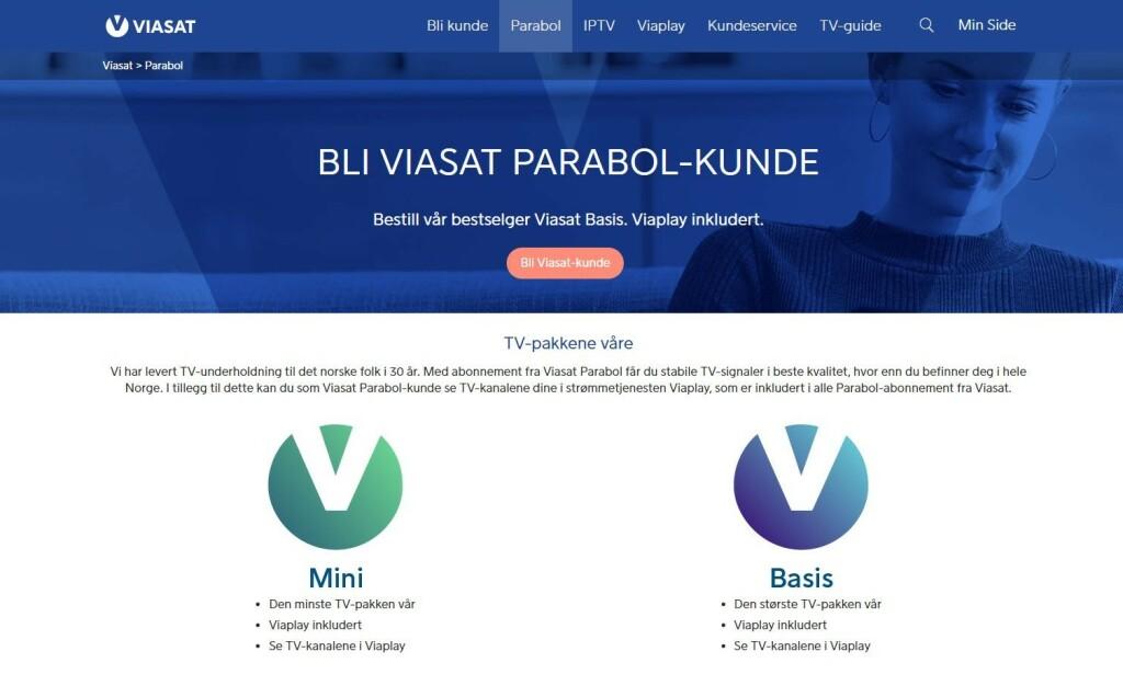 VIASAT: Slik presenteres kanalpakkene. Skjermdump: Viasat