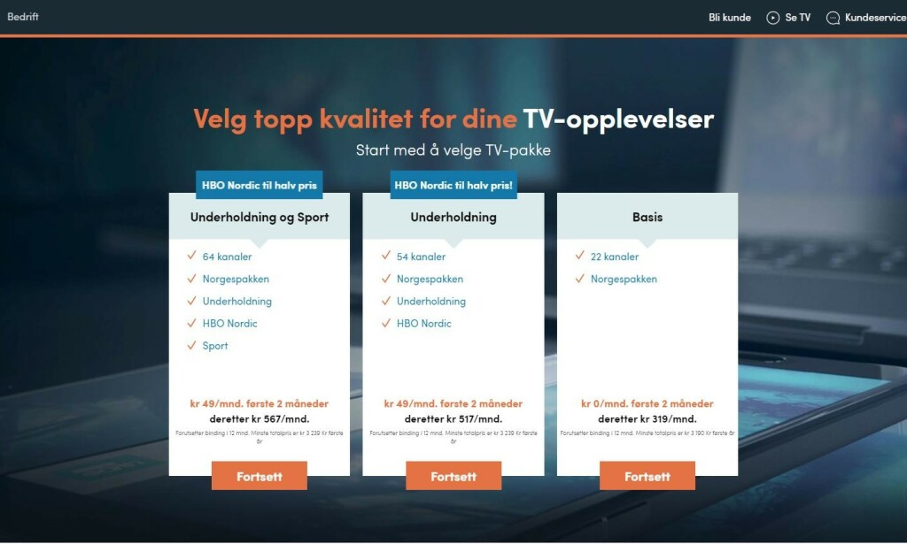CANAL DIGITAL: Slik presenteres kanalpakkene. Skjermdump: Canal Digital