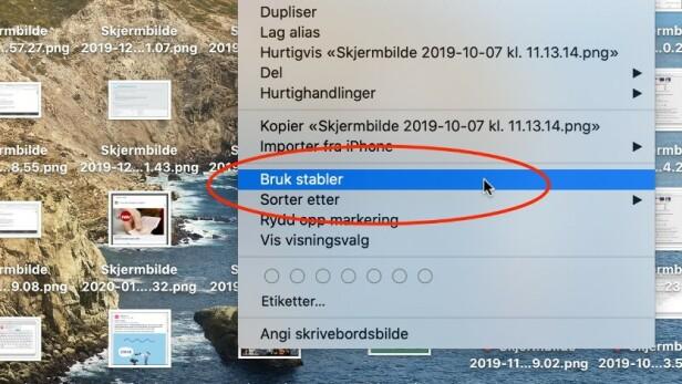 PRO TIP: Det kan fort bli rotete med mange skjermbildet på skrivebordet. Har du macOS Mojave eller nyere, kan du imidlertid enkelt rydde opp i kaoset ved å høyreklikke på et skjermbilde på skrivebordet og velge Bruk stabler. Da vil de samles under ett ikon som utvider seg når du trykker på det.