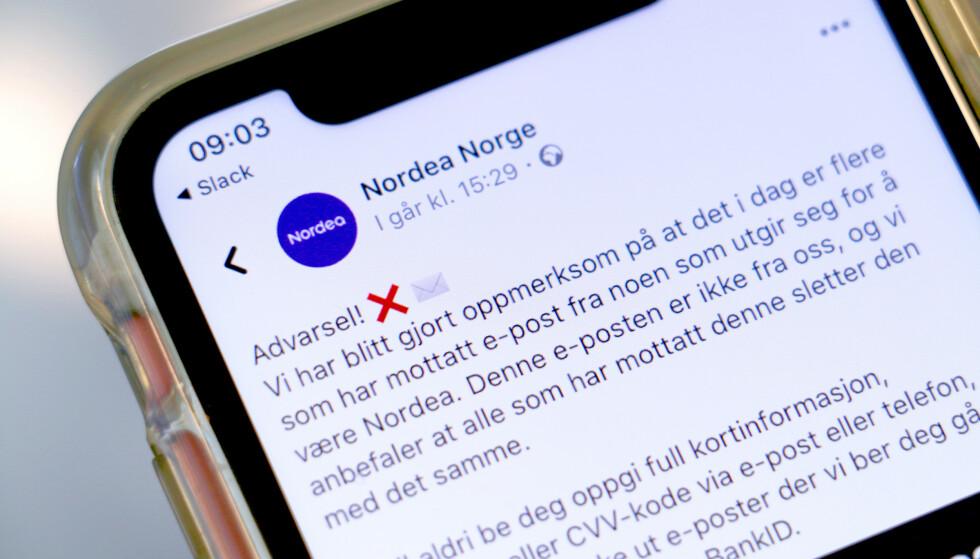 SVINDEL: Nordea advarer mot en e-post-svindel som er i omløp. - Slett den med det samme. Den er ikke fra oss, advarer de på Facebook. Foto: Kristin Sørdal