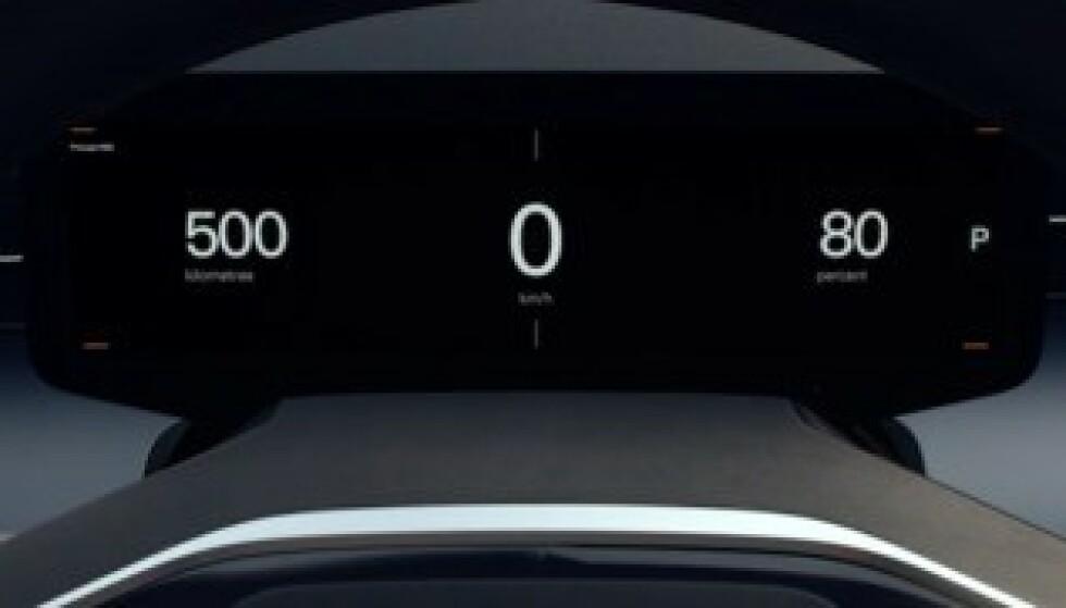 60 MIL: På filmen som er lagt ut, ser man dette skjermbildet. Det mer enn antyder en rekkevidde på 60 mil, noe som må sies å være et krav for en såpass stor bil som innbyr til litt lange turer. Foto: Polestar
