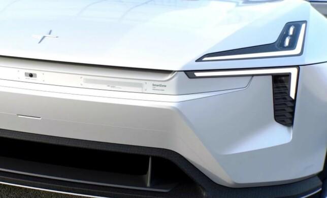 MED LITEN SKRIFT: Fronten skal være full av radarer og sensorer, best illustrert med tekst på dagens konseptbiler.