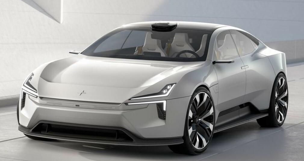 LAV FRONT: Polestar har også funnet ut at man ikke trenger en grill på elektriske kjøretøy, og dedikerer fronten til selvkjørende sikkerhetssystemer. Tors Hammer-designet kan skimtes i den nye fronten. Foto: Polestar