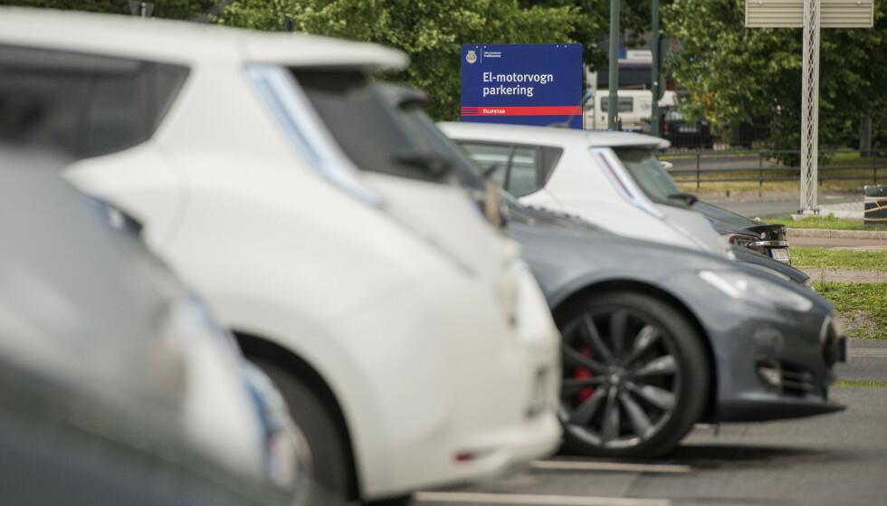 PRISØKNING: Parkering av elbil i Oslo blir snart dyrere. Les når og hvor mye prisen endres i saken under. Foto: Fredrik Varfjell/NTB Scanpix.