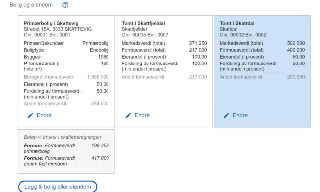 Slik vil eksempelvis boligrelaterte tall presenteres i den nye skattemeldingen. Skjermdump: Skatteetaten