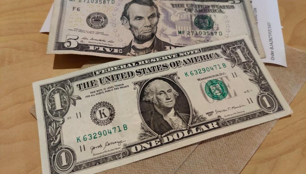 SVEKKES: Den norske krona svekker seg mot annen valuta. Én dollar har ikke vært dyrere på 19 år. Foto: Bjørn Eirik Loftås