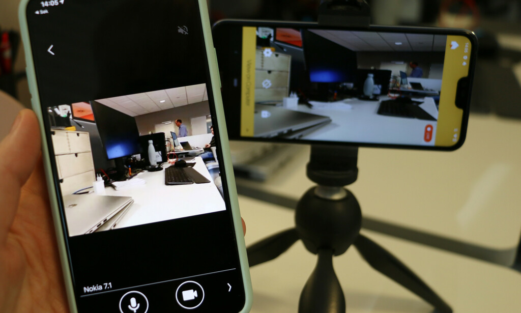 OVERVÅKINGSKAMERA: Har du en gammel mobil liggende, hvorfor ikke bruke den som overvåkingskamera hjemme? Foto: Kirsti Østvang