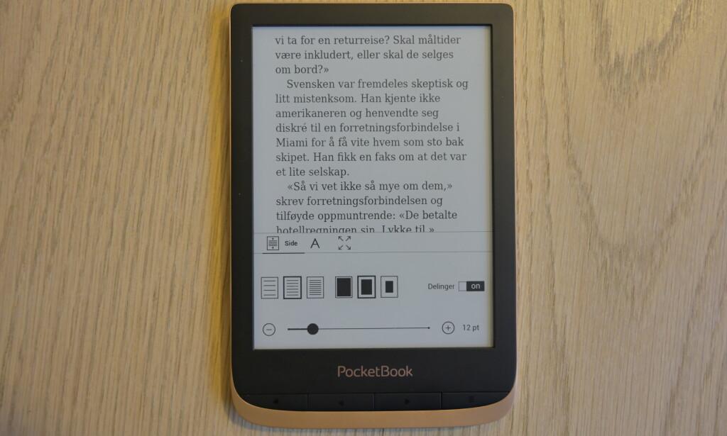 Pocketbooks oppsett av lesevisningen. Foto: Martin Kynningsrud Størbu