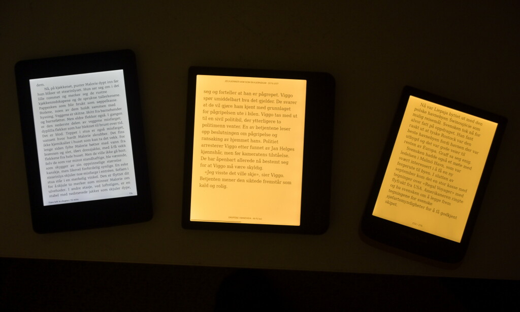 Med fargetemperaturen stilt til maks. Legg merke til at det ikke er mulig på Kindle. Foto: Martin Kynningsrud Størbu