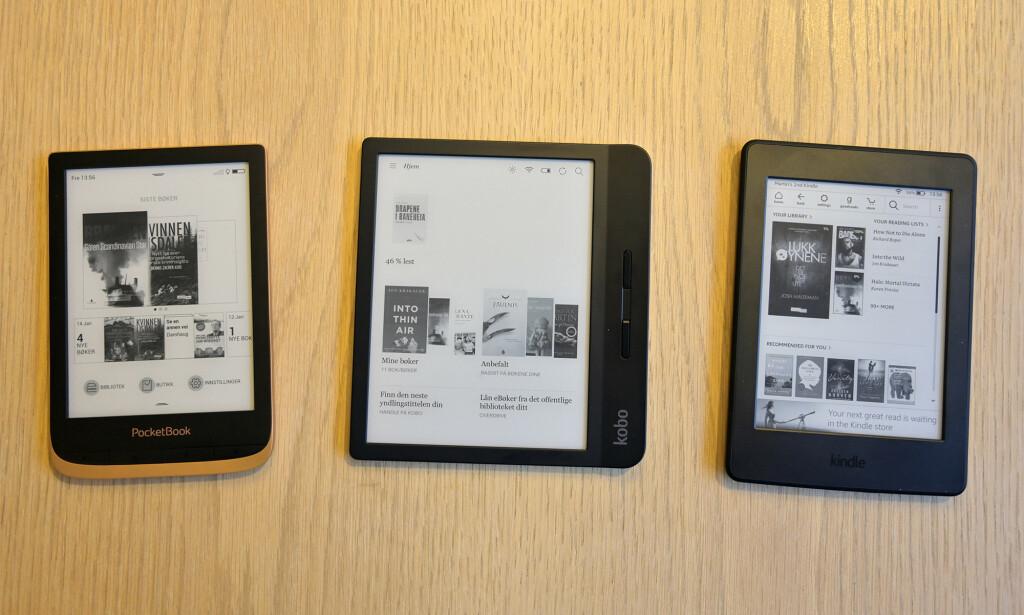 Fra venstre: Pockebook Touch HD 3, Kobo Libra H20 og Kindle Paperwhite. Foto: Martin Kynningsrud Størbu