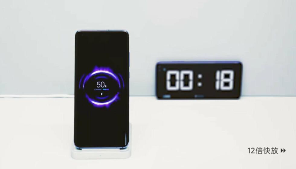 RASKT: Trådløs lading er i ferd med å bli mye raskere – Xiaomi har nå demonstrert hele 40 watts ladeeffekt uten å plugge en ledning i telefonen. Foto: Xiaomi/Weibo