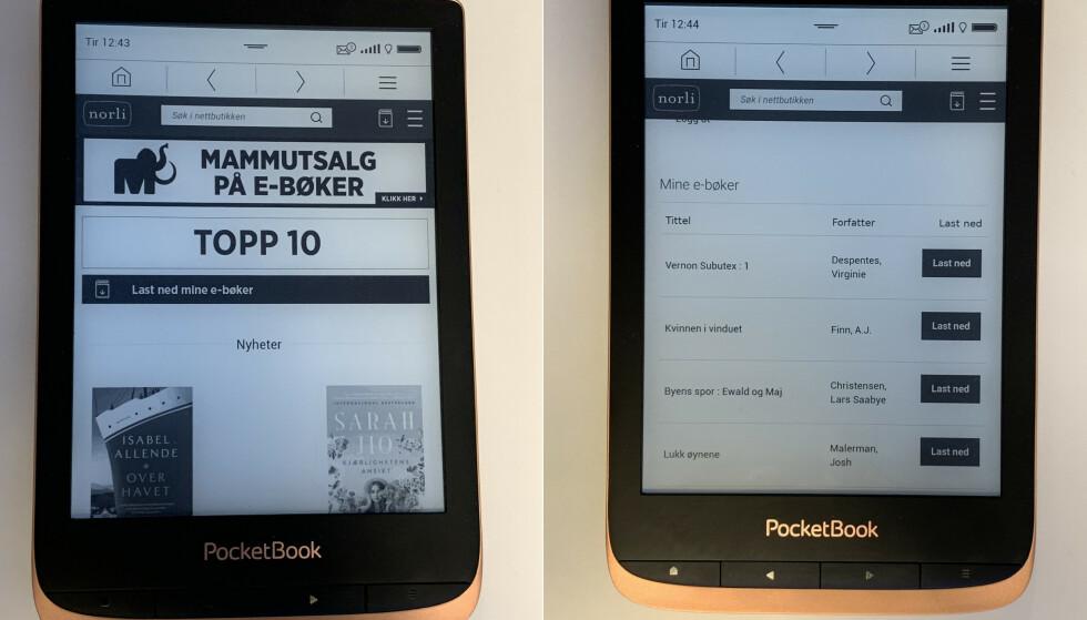 Pocketbook Touch HD 3. Her med Norlis butikk installert. Under «Last ned mine e-bøker» finner du alle ebøkene dine som er tilknyttet bokskya. Foto: Martin Kynningsrud Størbu