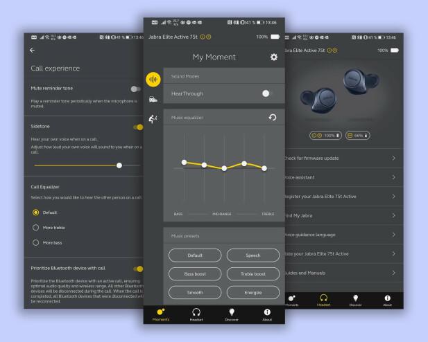 Jabra-appen lar deg justere en rekke ting og er logisk bygd opp og enkel i bruk. Skjermbilder: Pål Joakim Pollen