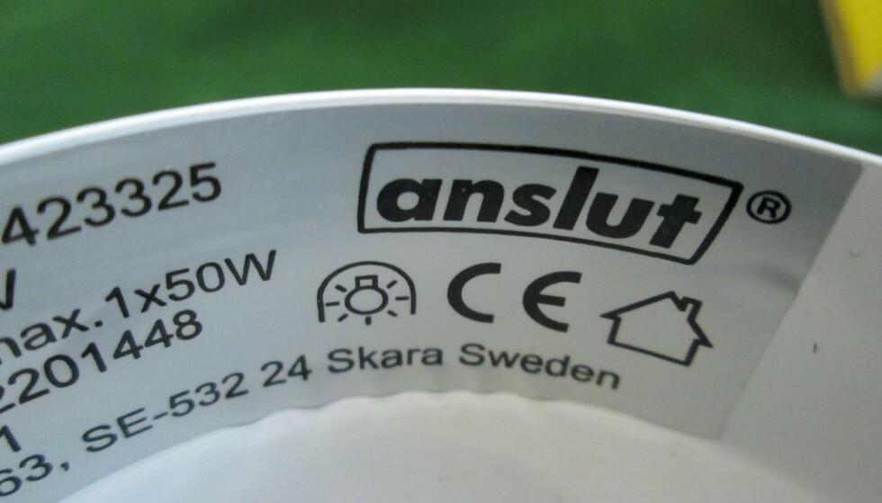 JULA-MERKET ANSLUT: Lampen er fra Julas eget merke Anslut. Foto: Elsäkerhetsverket