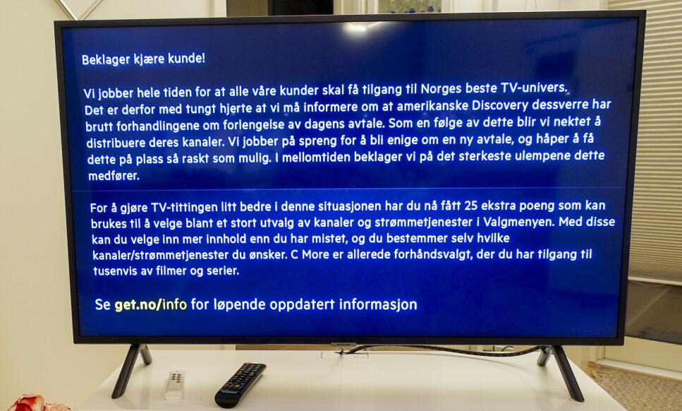 TV-TRØBBEL: Forhandlingene om en ny distribusjonsavtale mellom Discovery og Telia er brutt. Dermed mister over én million nordmenn flere kanaler fra og med tirsdag. Foto: Marianne Løvland/NTB Scanpix.