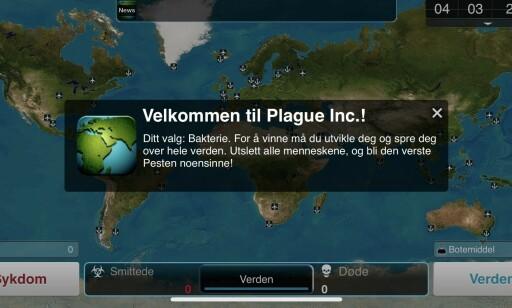 For å vinne må du utvikle pesten du starter, og spre deg over hele verden. Foto: skjermdump