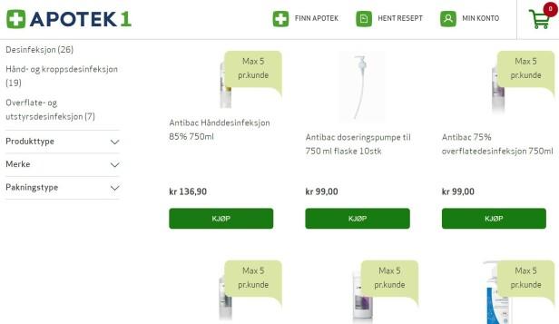 MÅ BEGRENSES: Apoteket har sett seg nødt til å begrense antall hånddesinfiserende produkter hver kunde kan kjøpe. Foto: skjermdump.