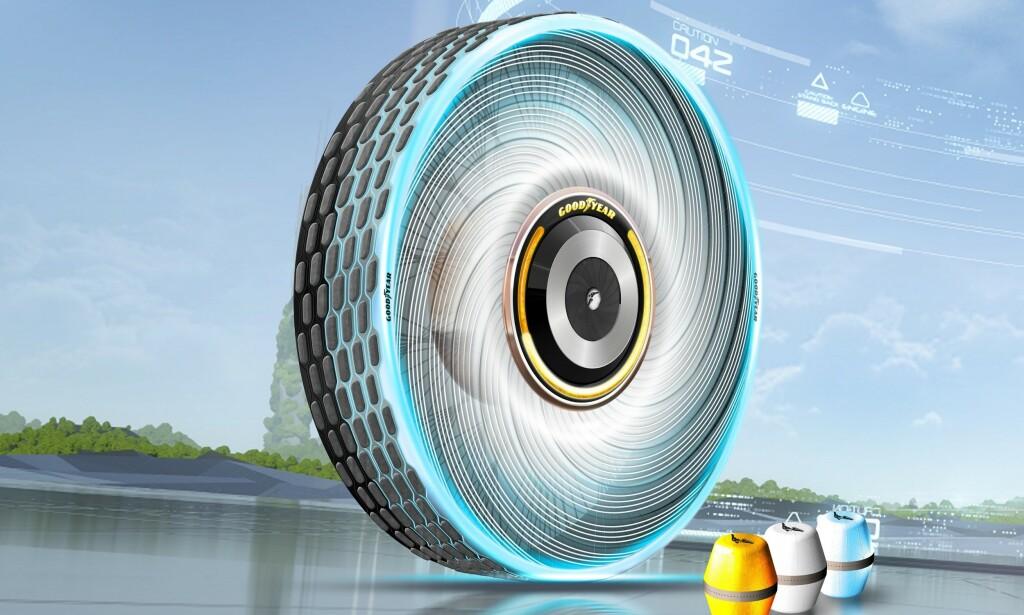 ALDRI UTSLITT: Når mønsteret på dekket begynner å bli slitt, velger du en kapsel med en gummiblanding som passer ditt behov og setter den inn i navet på hjulet. Nytt mønster bygger seg opp selv. Ill: Goodyear