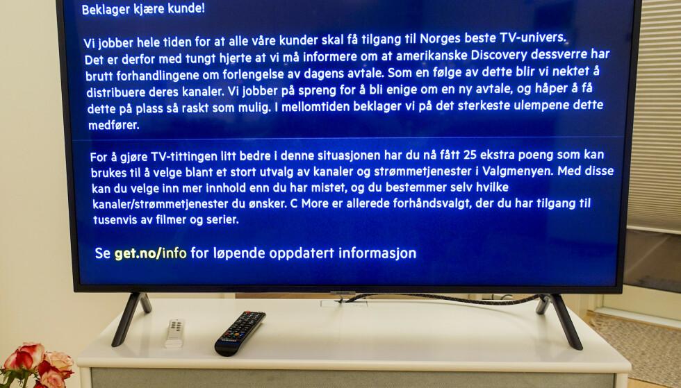 Tirsdag mistet over én million nordmenn Discoverys kanaler etter at forhandlingene med Get-eier Telia ble brutt. Torsdag er forhandlingene tatt opp igjen. Foto: Marianne Løvland / NTB scanpix