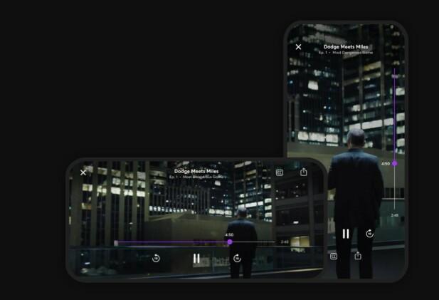 PORTRETT OG LANDSKAP: Quibi-episoder kan sees både stående og liggende, og du kan rotere telefonen underveis for å endre kamerautsnitt. Foto: Quibi