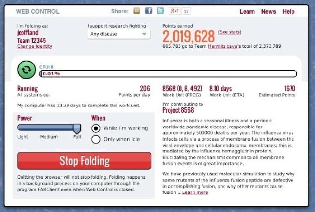 Ved å installere et program på PC-en din, kan du bidra til forskningen på coronavirus og andre ting. Foto: Folding@home