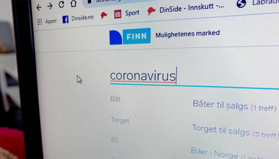 SIER NEI: Finn vil ikke tillate produkters som kan knyttes til coronaviruset. Foto: Dinside