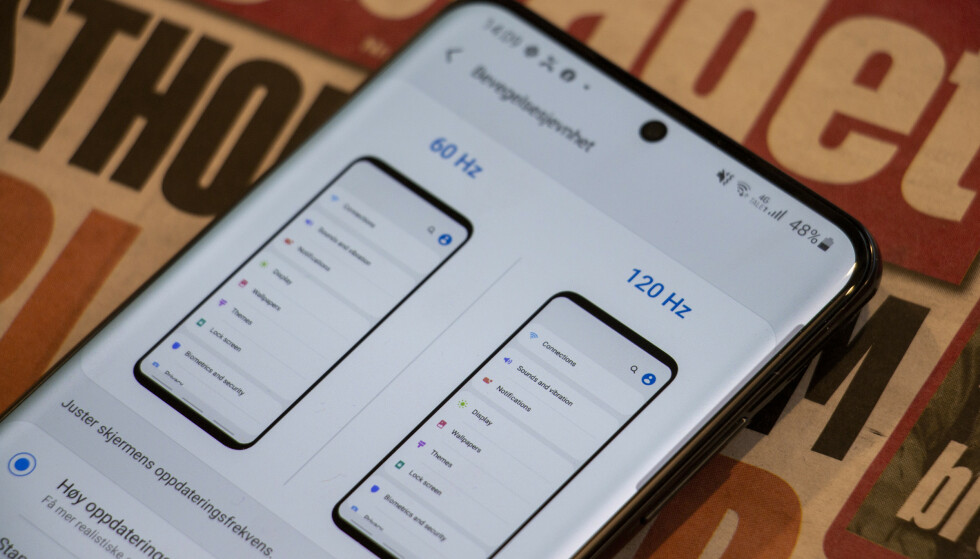 <strong>BLIR BEDRE:</strong> Samsung S20-telefonene har et et hav av innstillinger. En av de som virkelig løfter telefonen er å sette skjermen i 120 Hz-modus. Foto: Pål Joakim Pollen