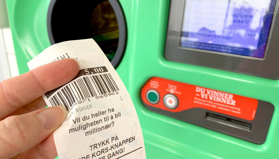 SNART KAN DU SLIPPE DENNE: Digitale pantelapper kan komme i norske butikker i løpet av året, som en del av butikkenes egne apper - dersom butikkene vil. Da slipper du å glemme pantelappen når du skal betale. Foto: Kristin Sørdal