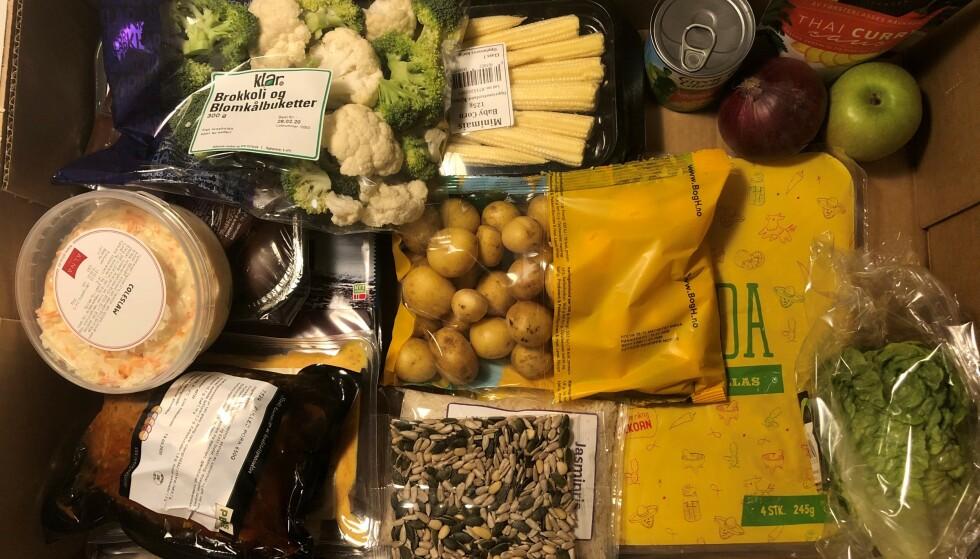 LEVERT RETT HJEM: Stor enklere enn dette får det ikke blitt når du skal handle inn til middag. Foto: Privat