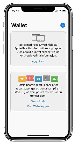 Apples Wallet-app brukes for å legge inn betalingskort på telefonen. Foto: Apple