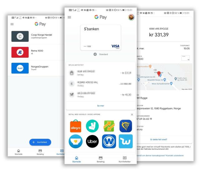 I Google Pay-appen kan du legge inn fordelskort hos butikkjedene og den slags. Skjermbilder: Pål Joakim Pollen