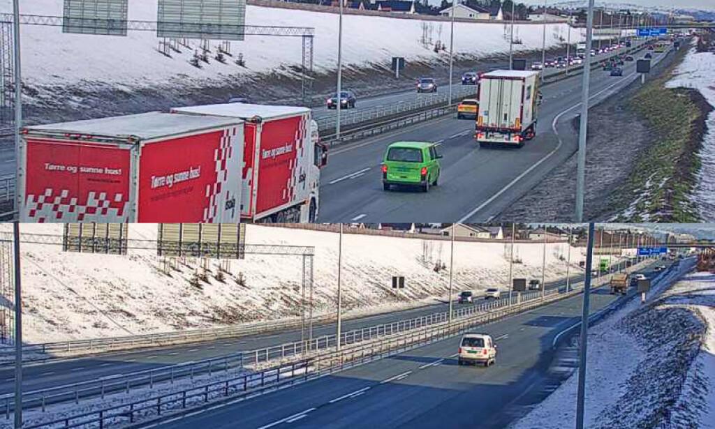 KRAFTIG NEDGANG: Det var glissen trafikk inn og ut av de store byene i dag. Dette er webkameraet ved Heimdalskrysset i Trondheim. Det øverste bildet viser morgenen mandag 9. mars. Det nederste 16. mars. Foto: Statens vegvesen.