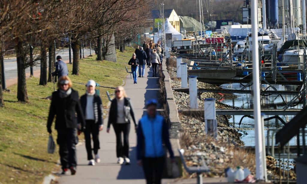 GREIT MED TUR? Mye folk trekkes til turområder i disse dager, som her ved Frognerkilen, Oslo, 16. mars. Ifølge rådene fra myndighetene bør du helst velge steder der det ikke er så store ansamlinger med folk. Og holde avstand. Foto: NTB scanpix