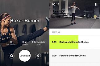 Øvelsespakken Boxer Burner starter med lett oppvarming i form av skulderbevegelse. Foto: skjermdump/Nike Training Club