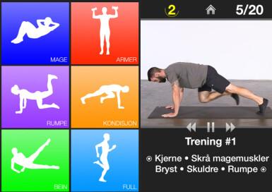 Til venstre er menyen, og til høyre ser du hvordan appen ser ut når du starter økten. Skjermdump/«Daglig Trening - øvelser»