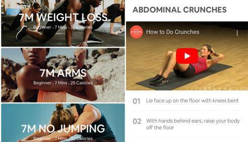 Først velger du hva du vil trene, deretter får du presentert øvelser med både tekst- og videoguide. Foto: skjermdump/«7 Minute Workout: Fitness App»