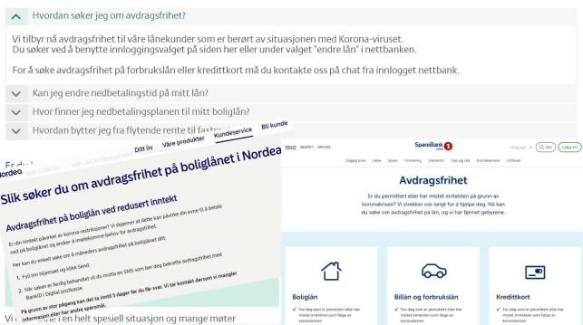 AVDRAGSFRIHET: Her ser du hvordan DNB, Nordea og Sparebank 1 SMN informerer om avdragsfrihet på sine nettsider. Foto: Skjermdump.