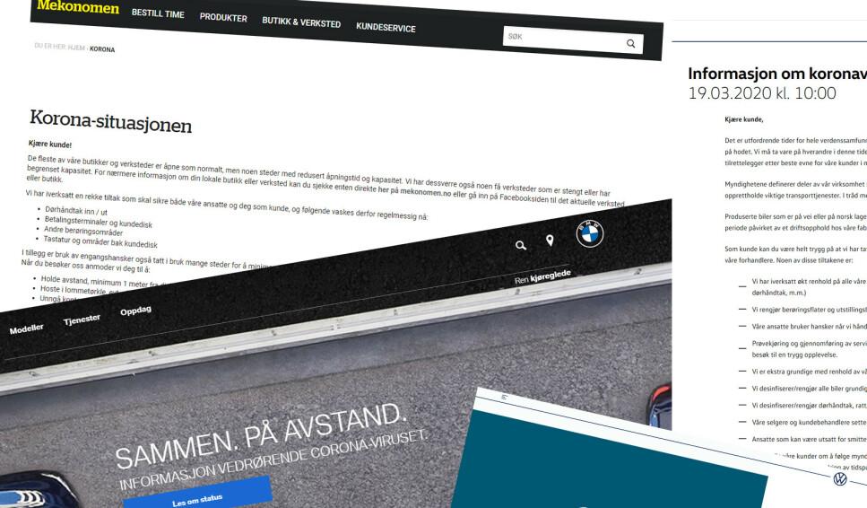 TAR TILTAK: Mange importører og verksteder har god informasjon på hjemmesidene sine om en rekke strenge tiltak som gjøres for å unngå smitte, både i salgshallene, i verkstedene og i kundebilene. Ill: Rune M. Nesheim