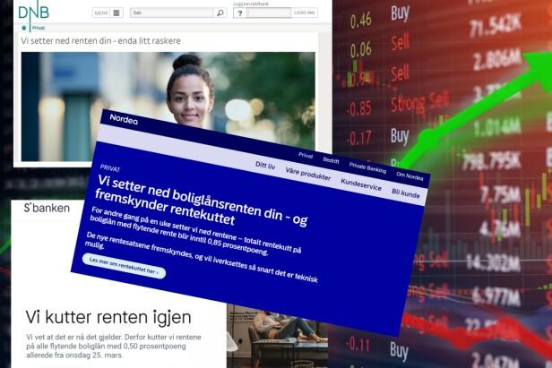 FREMSKYNDER RENTEKUTTET: DNB, Nordea og Sbanken er blant bankene som setter ned renta litt raskere enn vanlig varslingsfrist tilsier. Foto: Shutterstock/skjermdump.