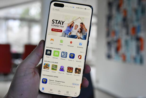 EGEN APP-BUTIKK: AppGallery er Huaweis app-butikk. Her jobbes det hardt med å fylle på med apper om dagen. Foto: Pål Joakim Pollen