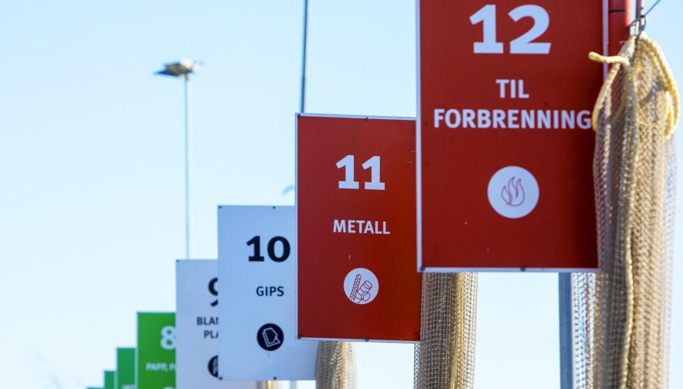 GJENBRUKSSTASJON: Haraldrud Gjenbruksstasjon på Alnabru er blant gjenbruksstasjonene i Oslo som åpner 1. april.  Foto: Ole Berg-Rusten / NTB Scanpix