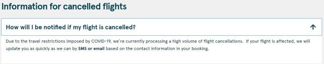 SKAL INFORMERE: Norwegian skriver på nettsidene sine at de skal informere om kanselleringer til de som har bestilt billett via e-post eller SMS. Foto: skjermdump.