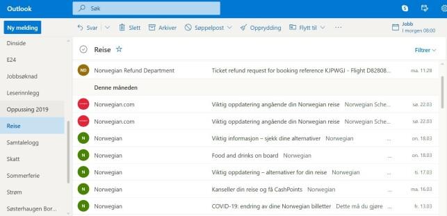 MANGE MELDINGER, MEN IKKE OM KANSELLERING: Det har jevnt og trutt tikket inn e-poster fra Norwegian, men ingen av dem opplyser om at flyet mitt allerede er kansellert. Foto: skjermdump.