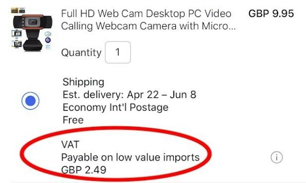 <strong>25 PROSENT MOMS:</strong> Dette webkameraet koster 9,95 britiske pund. Så blir 25 prosent moms lagt til, slik at totalprisen blir 12,44 pund, eller rundt 32 kroner mer enn det ville kostet før momsgrensa forsvant. (Skjermdump)