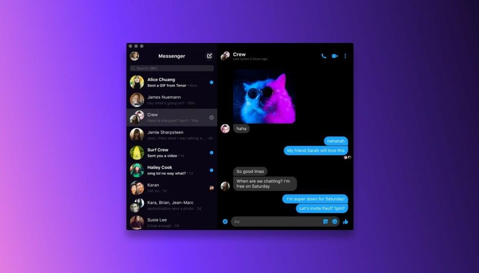 MESSENGER: Windows og macOS har endelig fått en Messenger-app. Foto: Facebook