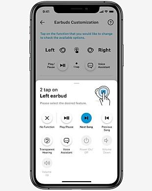 VELG SELV: I appen kan du velge hva som skal skje når du trykker en eller flere ganger på høyre eller venstre ørepropp. Foto: Sennheiser