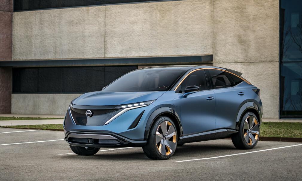 NISSAN ARIYA: Det som fort kan bli Nissans neste elbil, etter bestselgeren Leaf, bil se omtrent ut som dette. Foto: Nissan